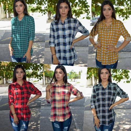 Paquete de 6 camisas de cuadros-00884