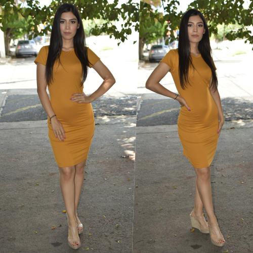 Vestido Lapiz - Mostaza-00888
