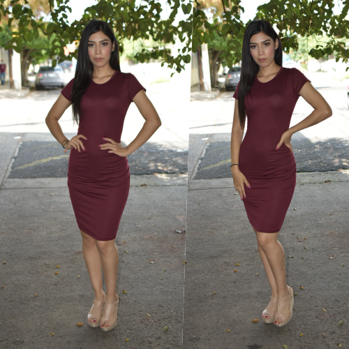 Vestido Lapiz - Tinto-00890
