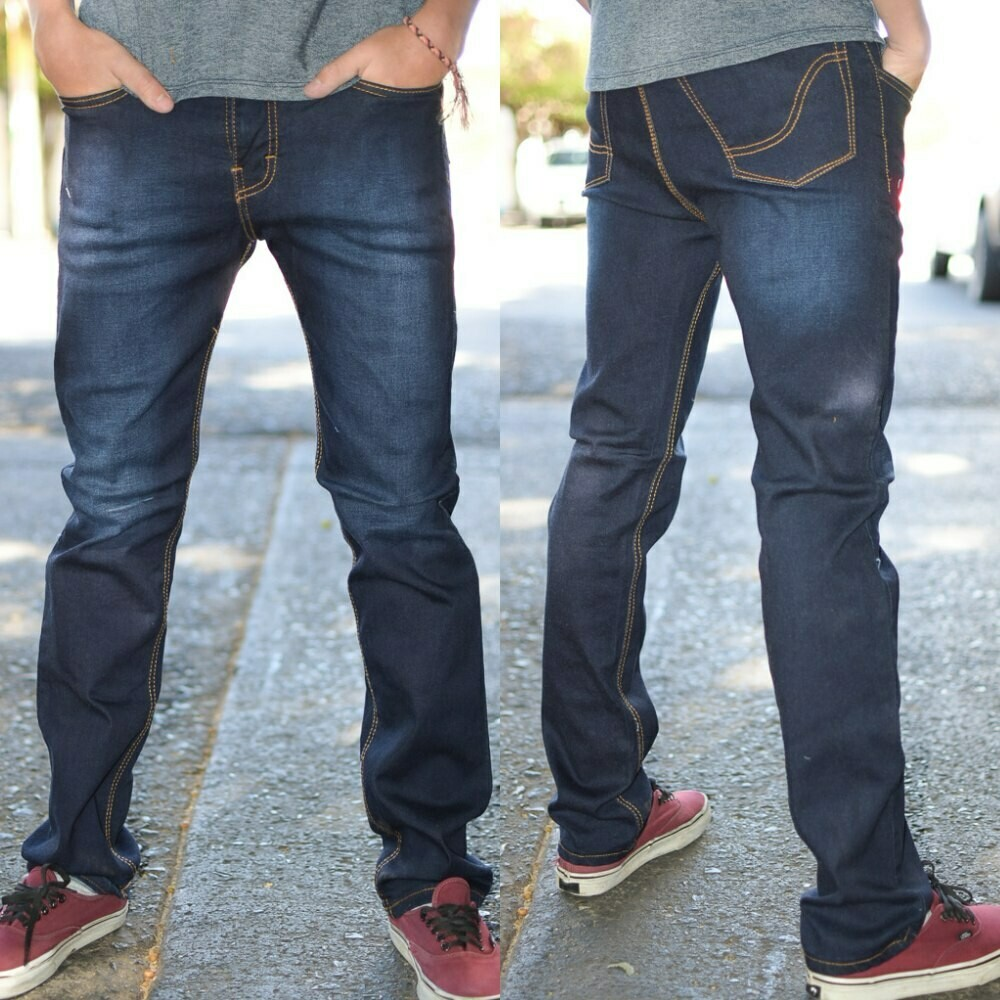 Pantalon skinny Para caballero-azul oscuro-01019