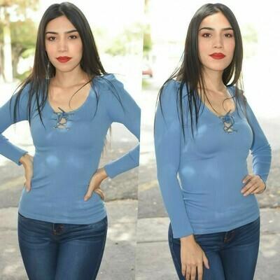 Blusa de lycra manga larga modelo -HNT-22-azul