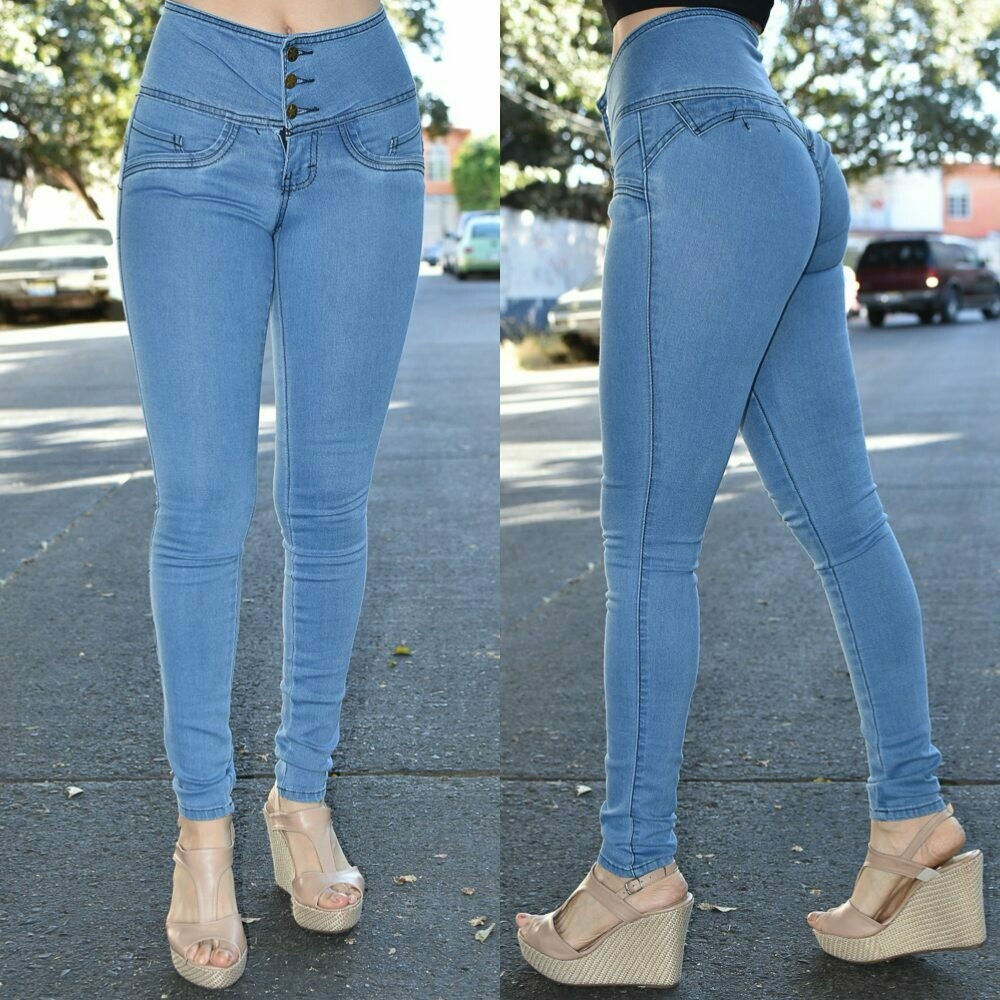 Pantalon skinny 3 botones Azul claro modelo 01026