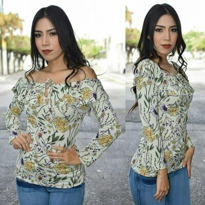 Blusa campesina floreada-Modelo SNN3-Blanco