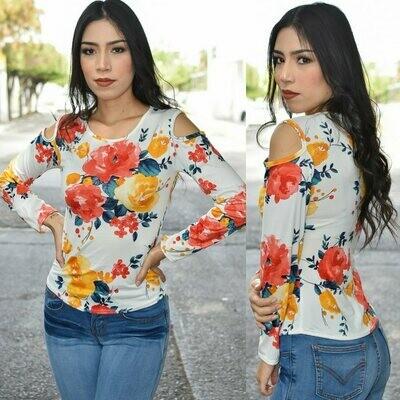 Blusa floral-Naranja