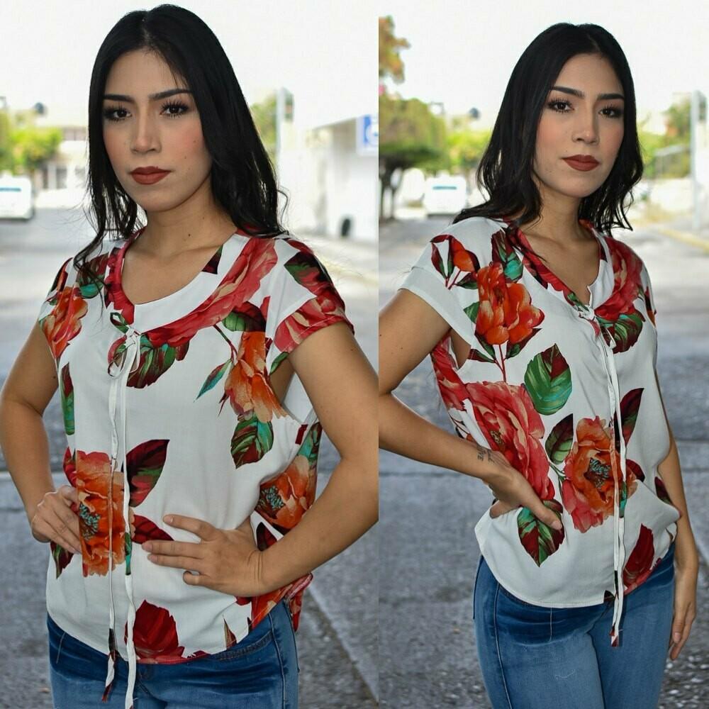 Blusa Floreada Corbatin Modelo-01142
