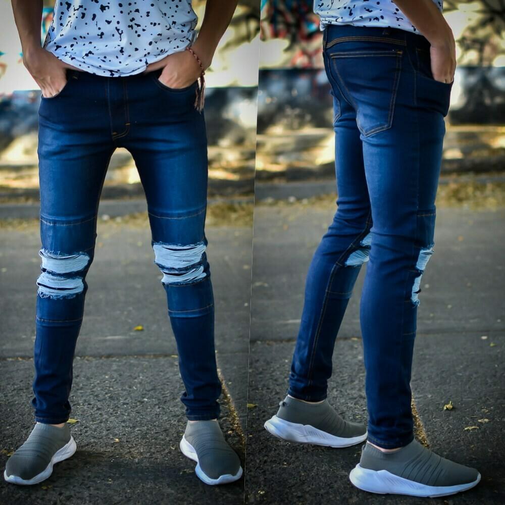 Pantalon skinny Para caballero-AZUL-01181