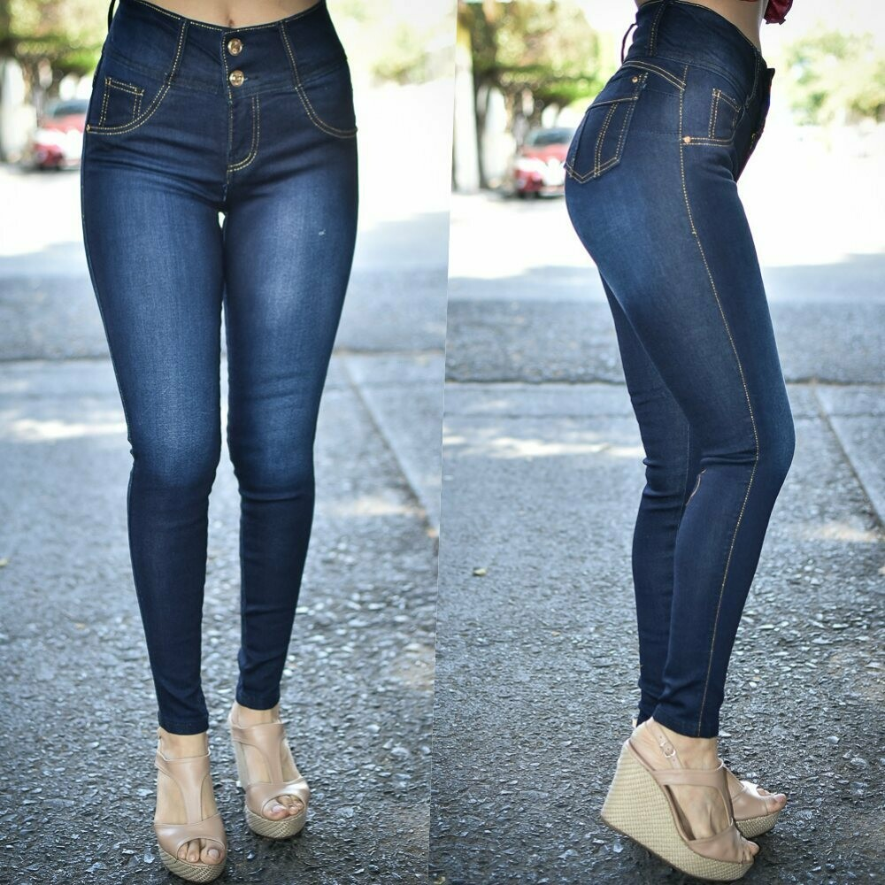Pantalon skinny 2 botones Deslavado  modelo 01189