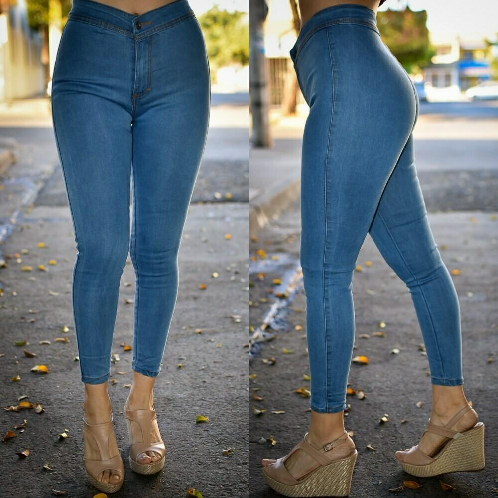Pantalon liso a la cintura azul CLARO MODELO 01214