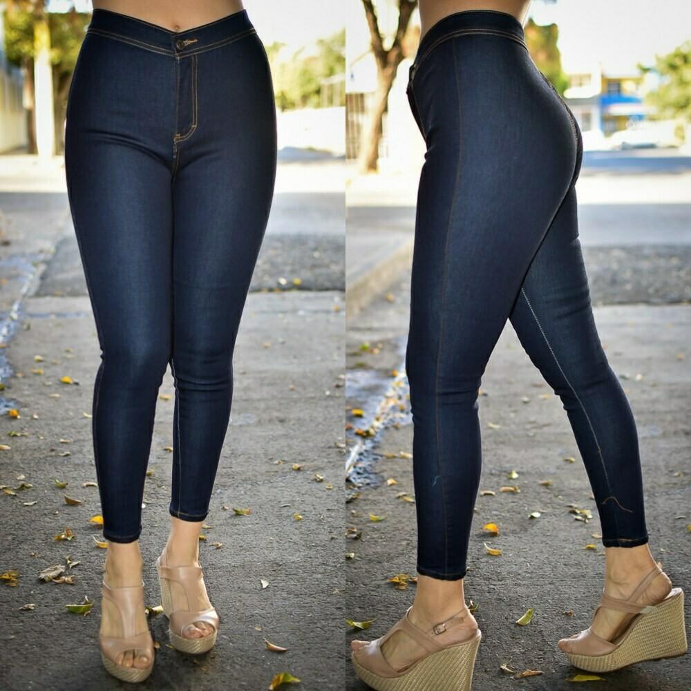 Pantalon liso a la cintura azul obscuro MODELO 01213