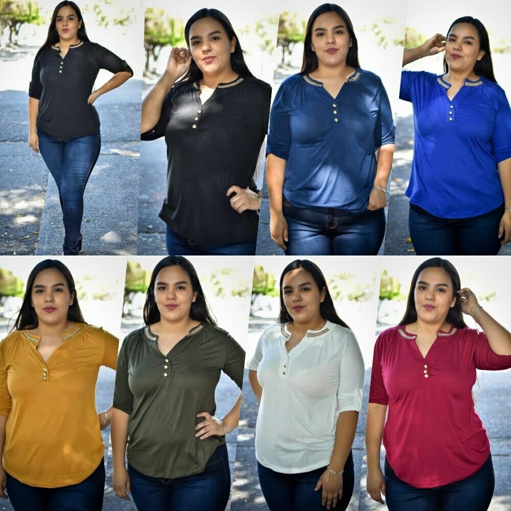 Blusa cuello V con botones talla curvy MODELO 01225