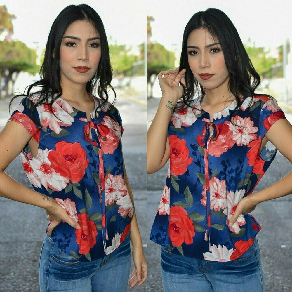 Blusa Floreada Corbatin Modelo-01241