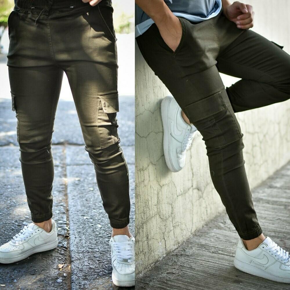 Pantalon Jogger gabardina Verde Militar-01253