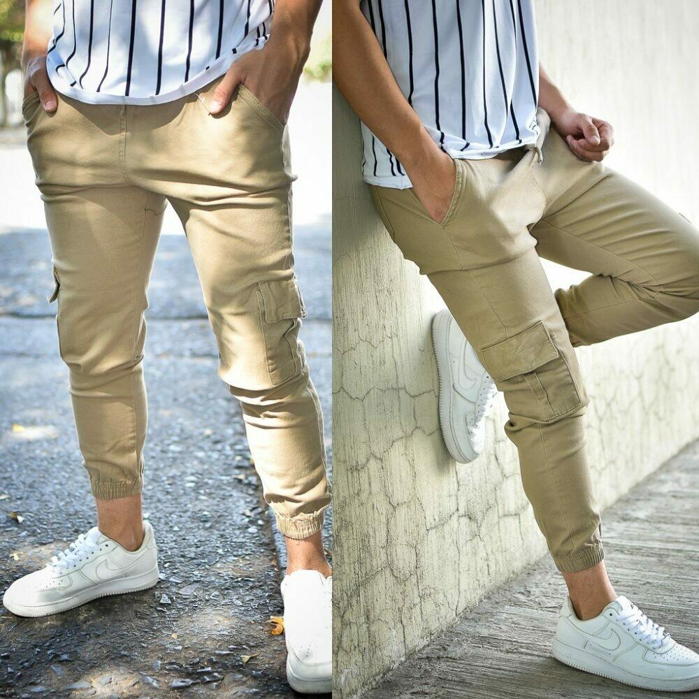 Pantalon Jogger gabardina Beige-01252