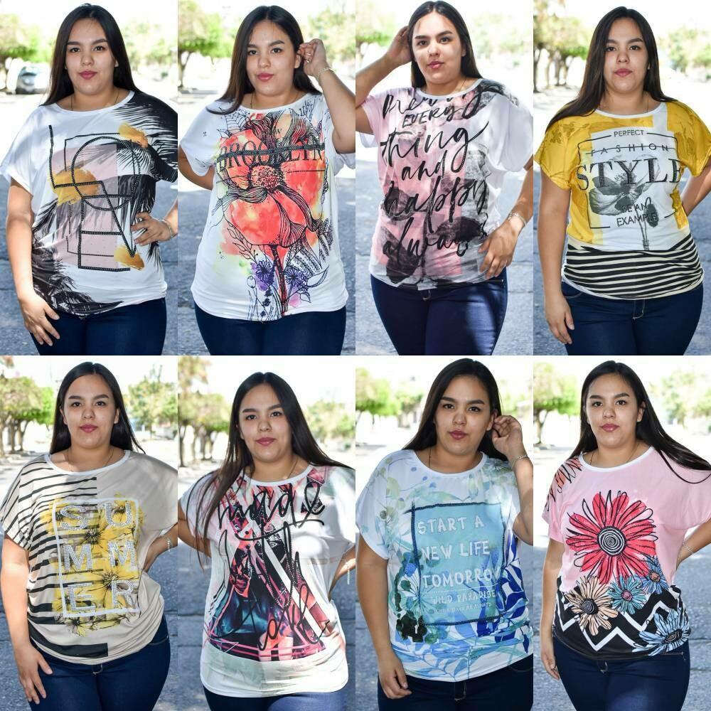 Blusa curvy estampada paquete con 6 piezas MODELO 01276
