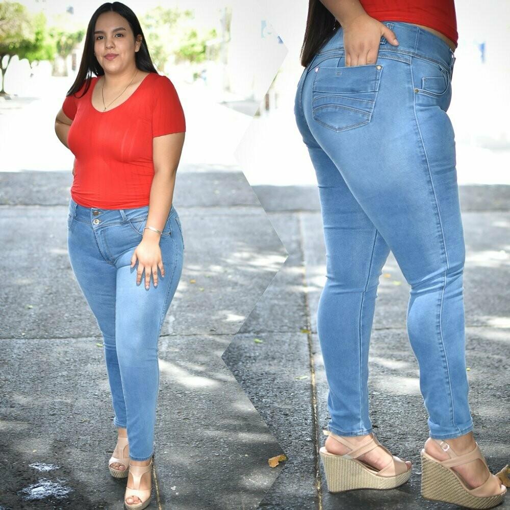 Pantalon de mezclilla curvy azul claro