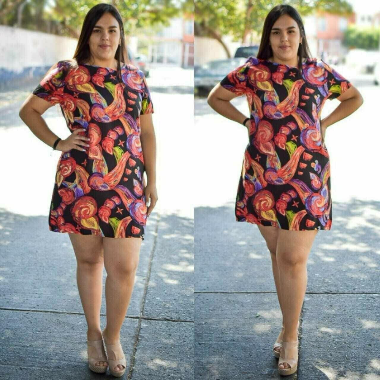 Vestido curvy floreado modelo 01349