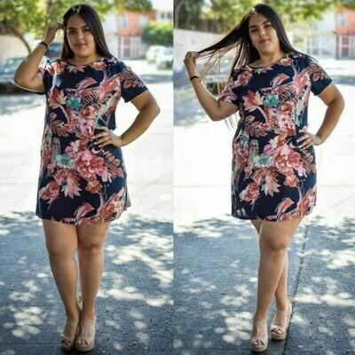 Vestido curvy floreado modelo 01348