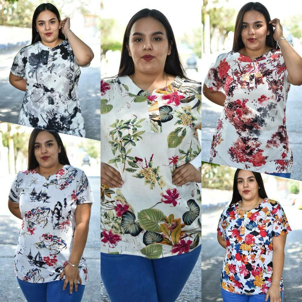 Blusa Floreada Curvy modelo-BLP2