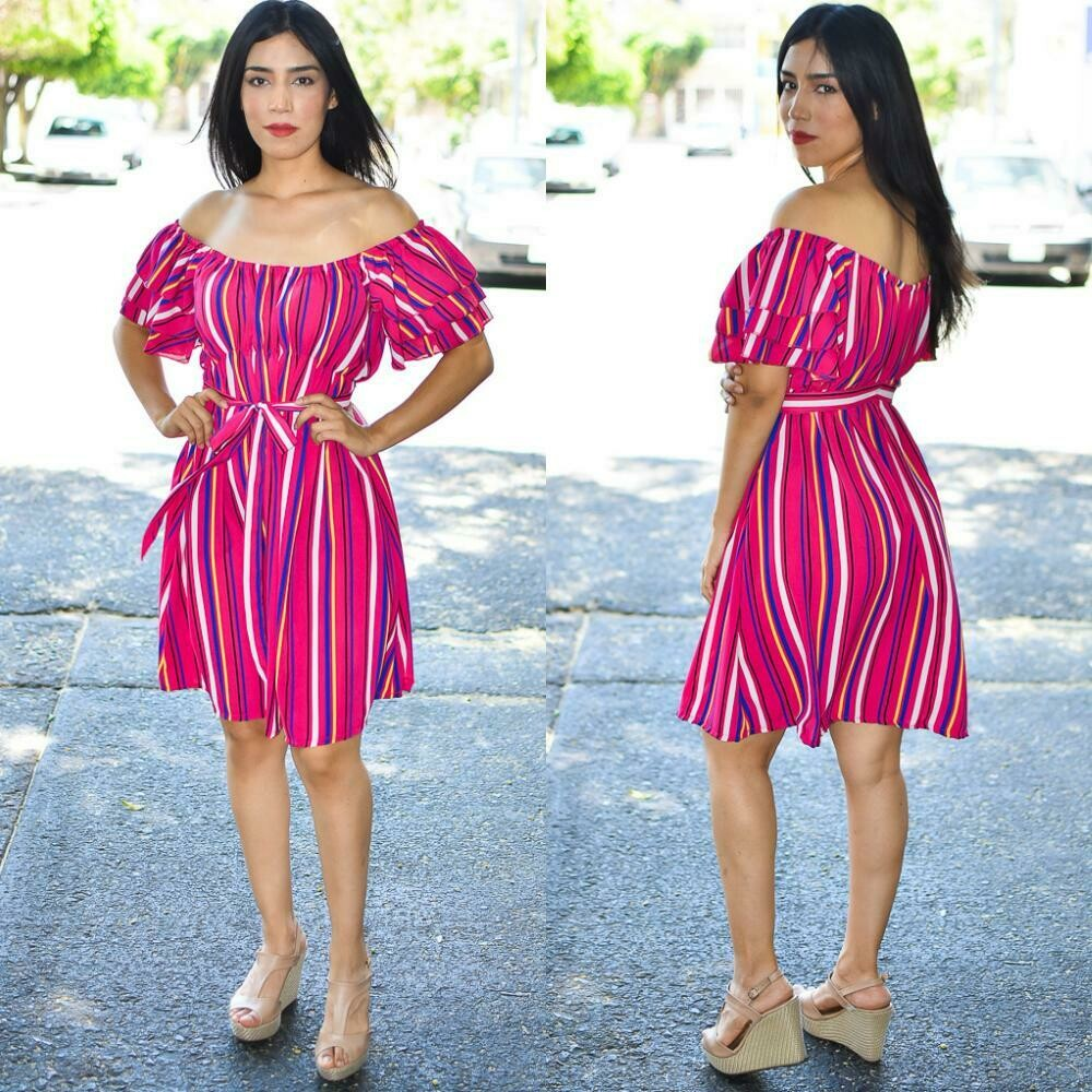 Vestido campesino rayas Rosa modelo 01390