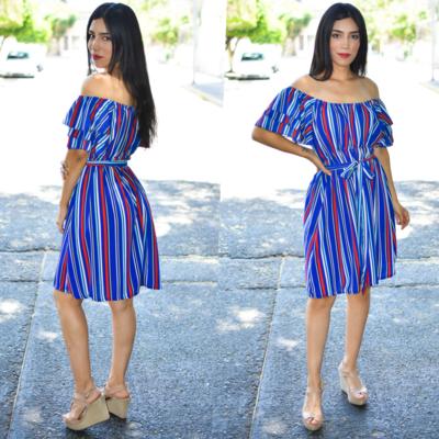 Vestido campesino rayas Azul modelo 01389