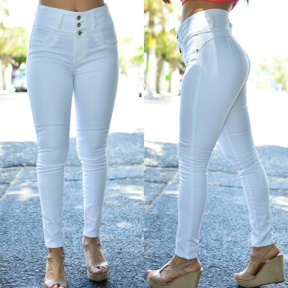 Pantalon de Mezclilla Color blanco modelo-01393