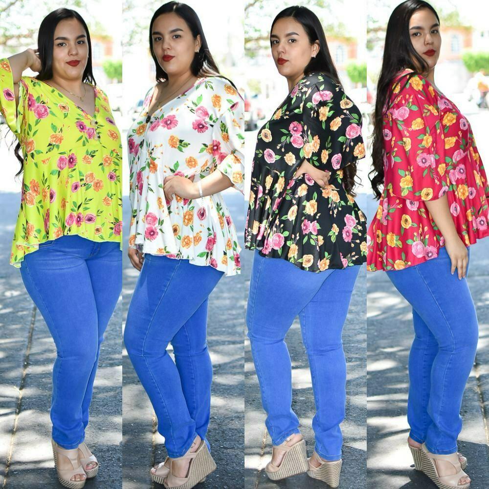 Blusa cola de pato floreada curvy Modelo 01419