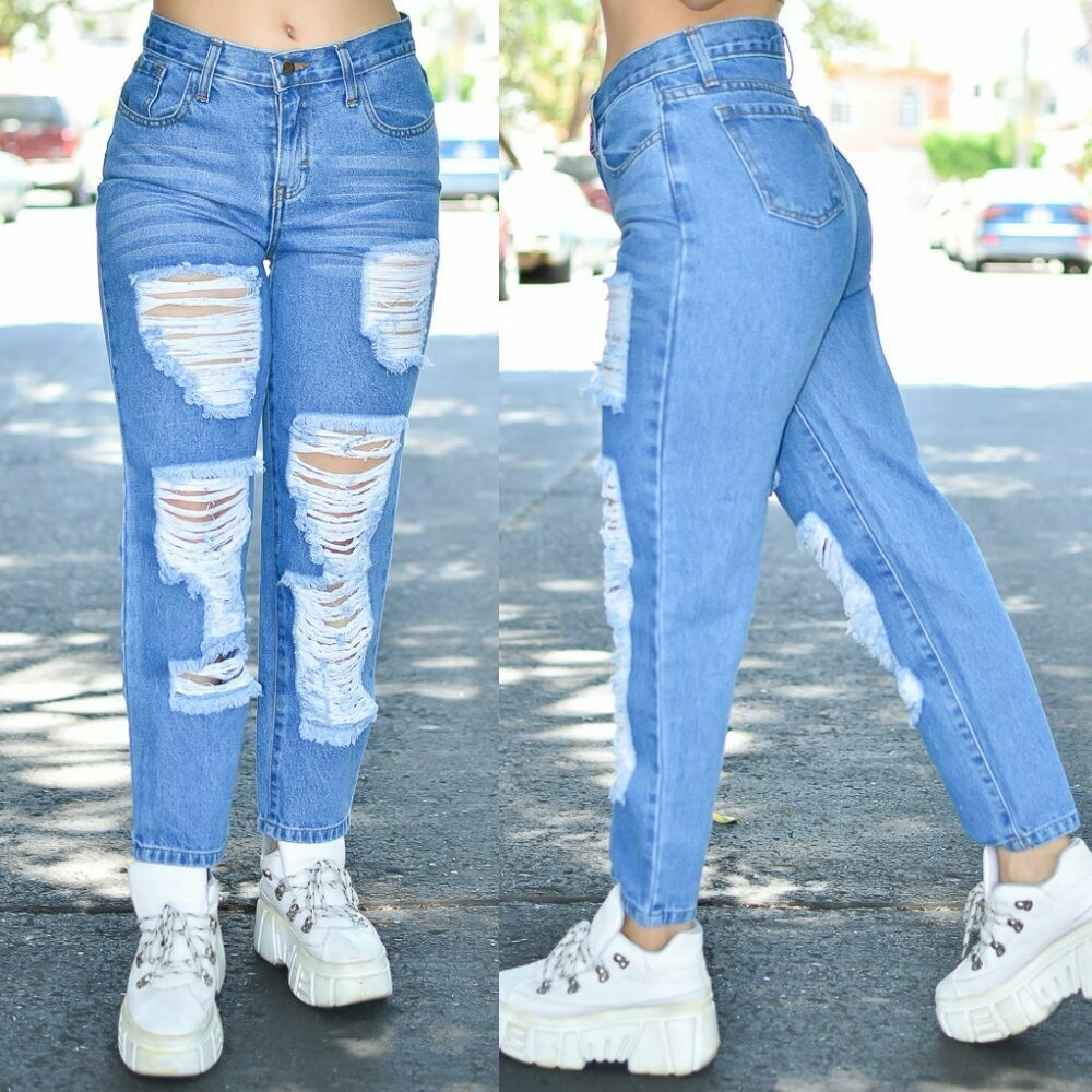 Pantalon Mom Jeans con destruccion azul Obscuro modelo 01421