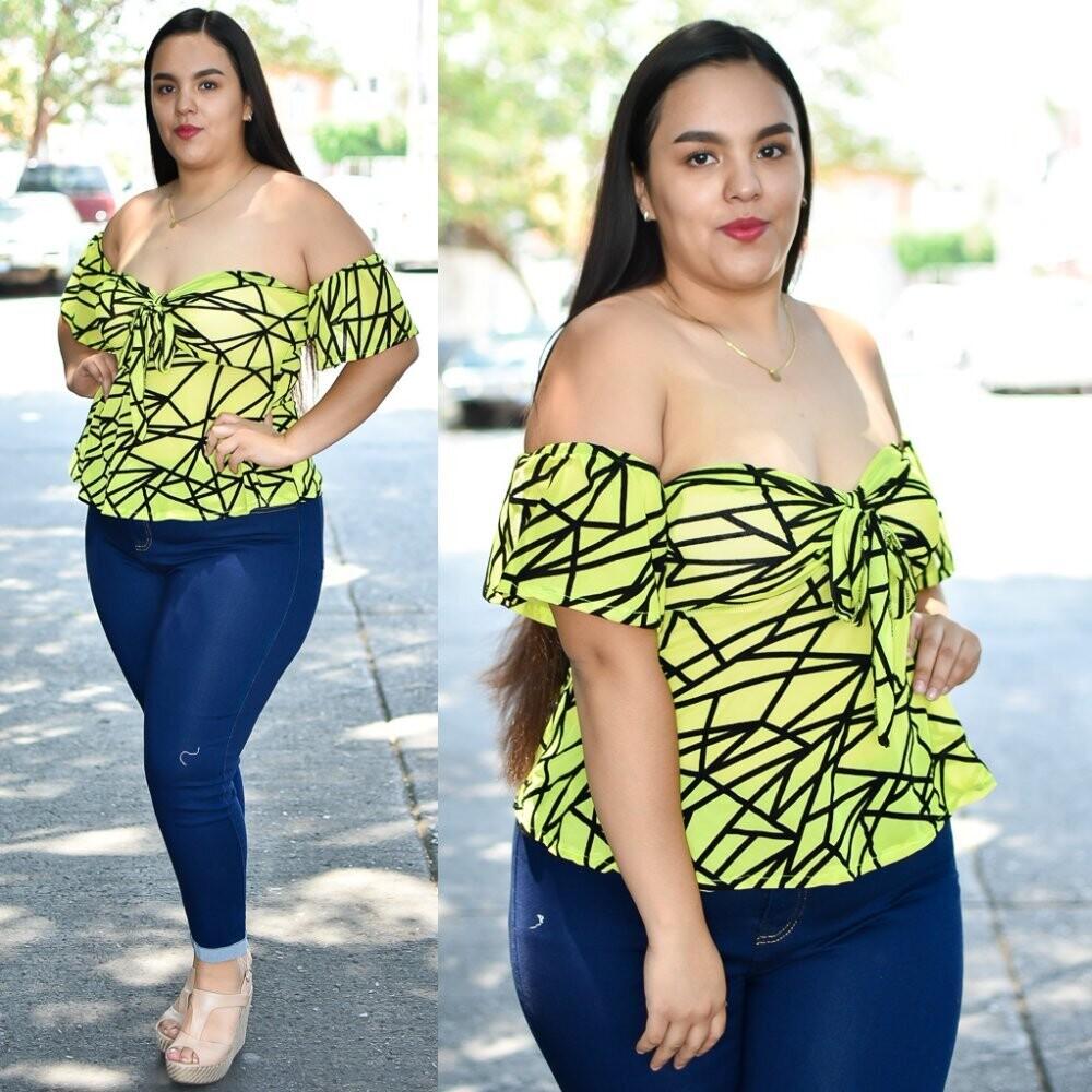 Blusa campesina  Curvy mesh modelo 01436-Amarillo