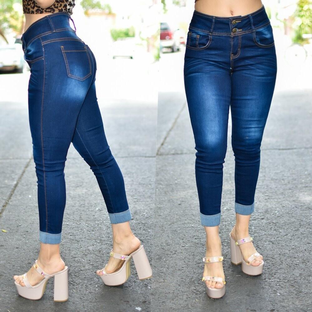 🎀Pantalón tobillero con dobles deslavado azul obscuro modelo 01465🎀