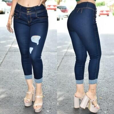 🎀Pantalón tobillero con dobles deslavado azul oscuro modelo 01475🎀