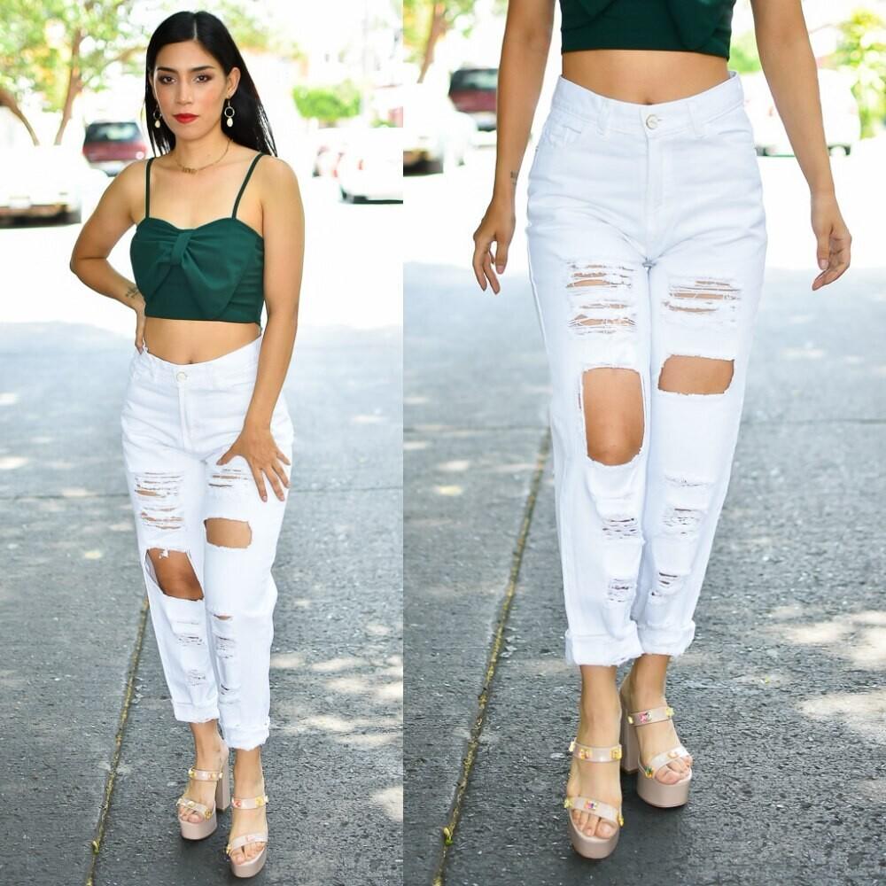 🎀Pantalon Mom Jeans Blanco con Destrucción Modelo 01450🎀