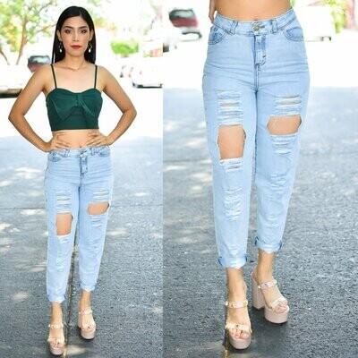 🎀Pantalon Mom Jeans con destrucción Azul claro Modelo 01435🎀