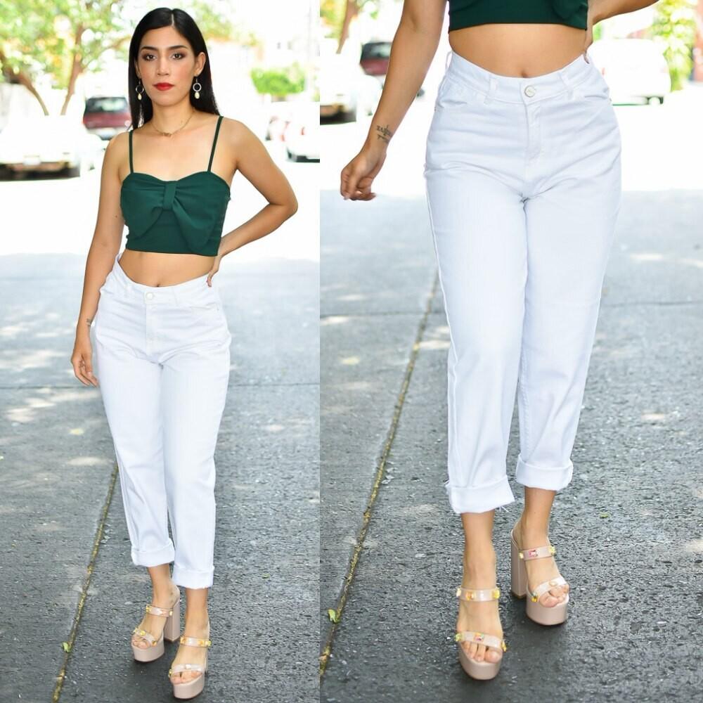 🎀Pantalon Mom Jeans Blanco Modelo 01449🎀