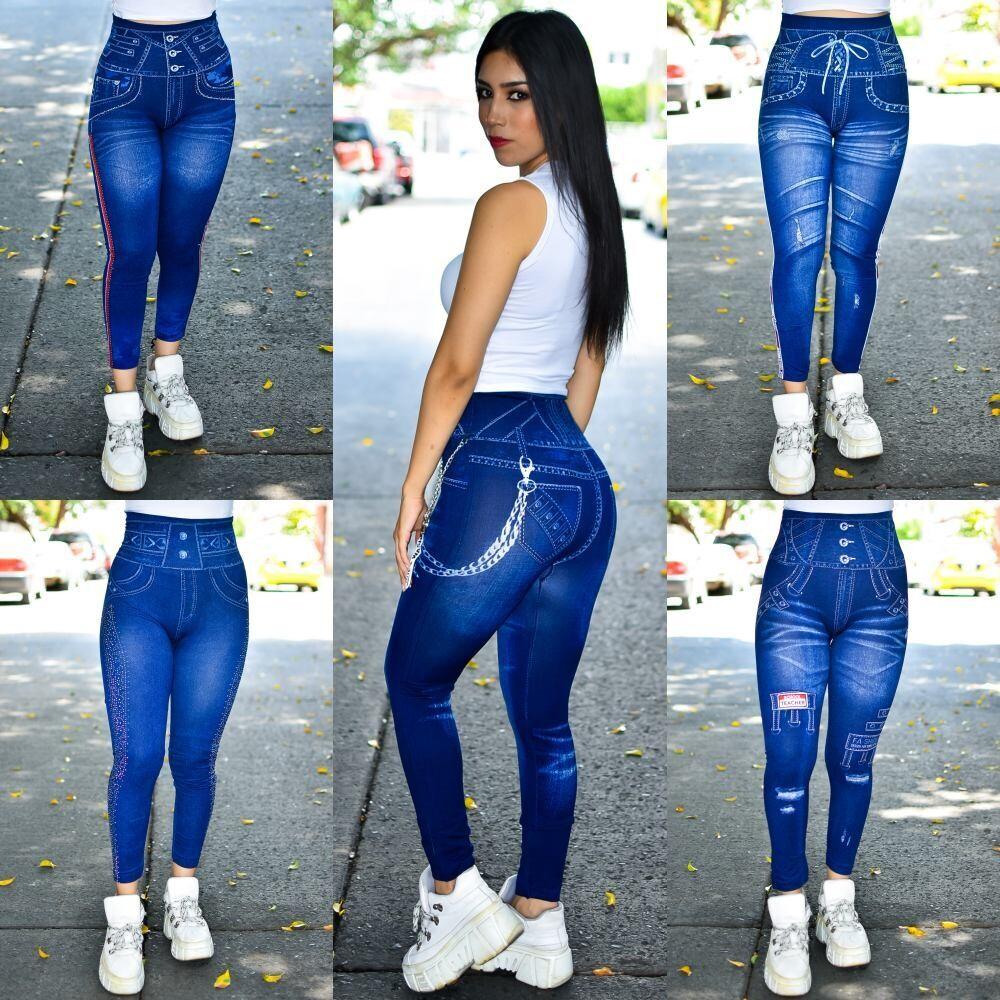 🎀 Paquete de 5 leggins tipo mezclilla-Modelo SPLMF9🎀