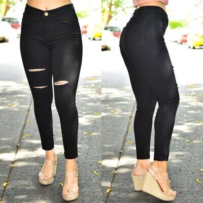 🎀 Pantalon Tobillero Negro con destruccion 01491🎀