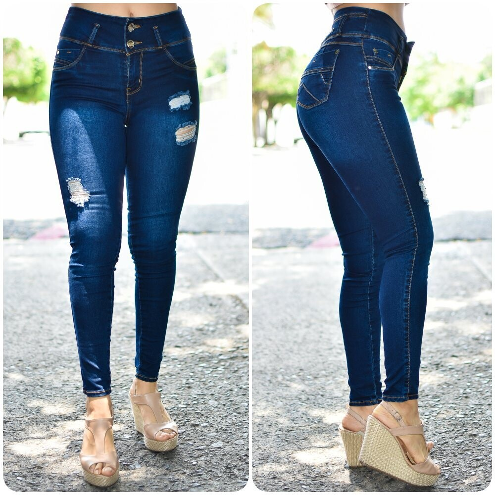 🎀 Pantalon de mezclilla a la cintura con destruccion modelo-01542🎀