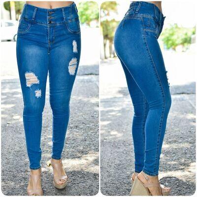 🎀 Pantalon de mezclilla a la cintura con destruccion modelo-01543🎀