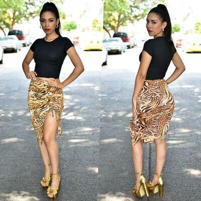 🎀 Conjunto de falda y blusa animal print modelo 01549🎀