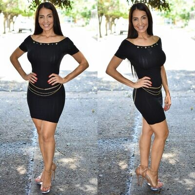 🎀 Vestido lapiz con cadena modelo 01576-negro🎀