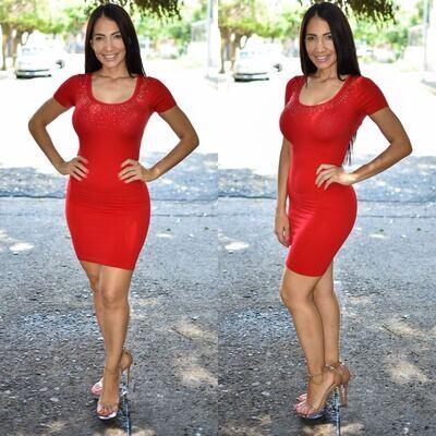 🎀 Vestido lapiz con brillos modelo 01577-rojo🎀