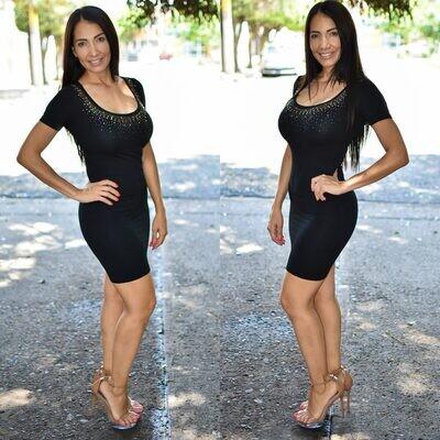 🎀 Vestido lapiz con brillos modelo 01577-negro🎀