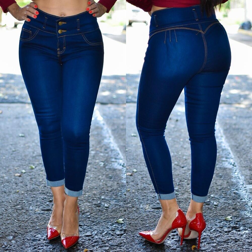 🎀 Pantalon Tobillero con dobles sin bolsa azul obscuro MODELO 01574🎀