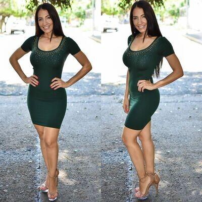 🎀 Vestido lapiz con brillos modelo 01577-verde🎀