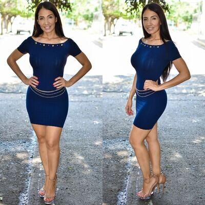 🎀 Vestido lapiz con cadena modelo 01576-marino🎀