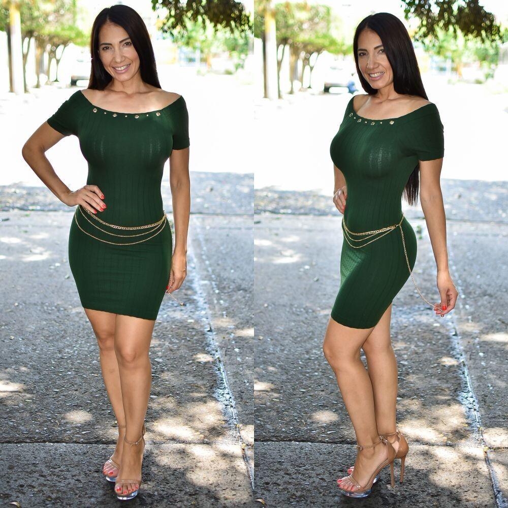🎀 Vestido lapiz con cadena modelo 01576-verde🎀
