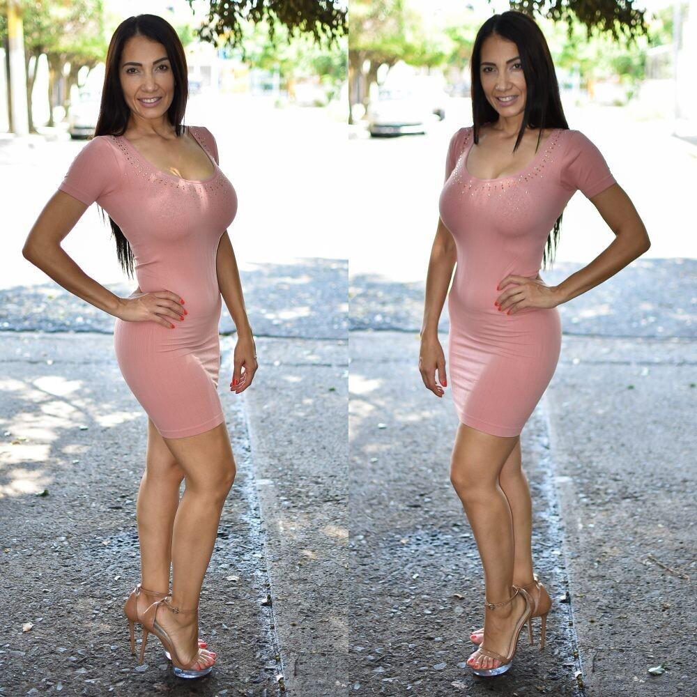 🎀 Vestido lapiz con brillos modelo 01577-Rosa🎀