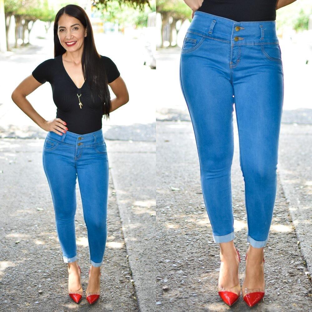 🎀 Pantalon Tobillero con dobles sin bolsa azul claro MODELO 01578🎀