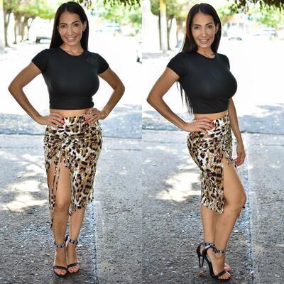 🎀 Conjunto de falda y blusa animal print modelo 01583🎀