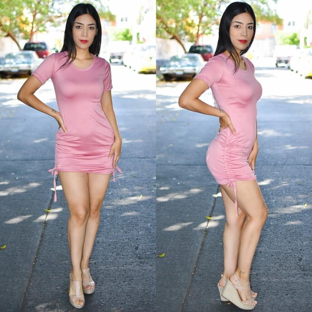 Vestido con Jareta a los costados-Modelo 01585-rosa