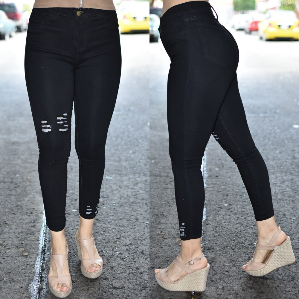 Pantalon Skinny tobillero negro modelo 01594